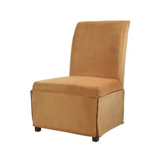 Powell Butternut Gold Velvet Skirted Parson Chair Slipcover