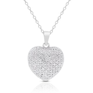 Finesque Sterling Silver Diamond Accent Heart Necklace in a Red Bow Gift Box