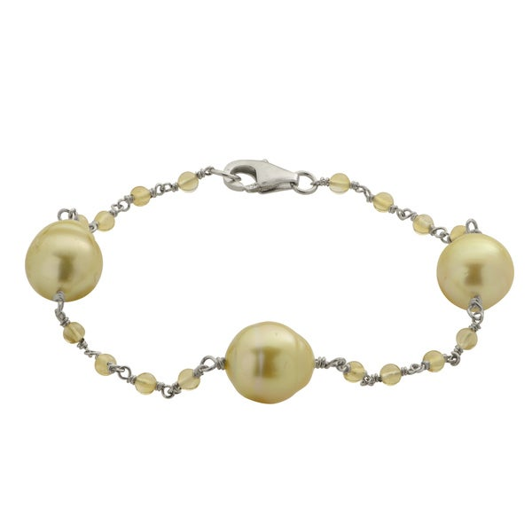 Pearls for You 7.5-inch Sterling Silver Golden South Sea Pearl and Citrine Station Bracelet (10-11 mm)