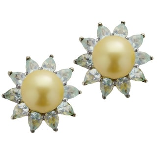Pearls for You Sterling Silver Golden South Sea Pearl Apatite Earrings (9-9.5 mm)