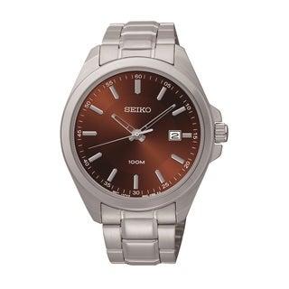 Seiko Men's SUR069 Stainless Steel Brown Dial Watch
