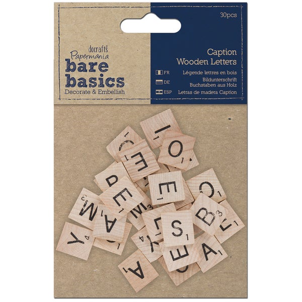 Papermania Bare Basics Wooden Letters 30/Pkg-Caption