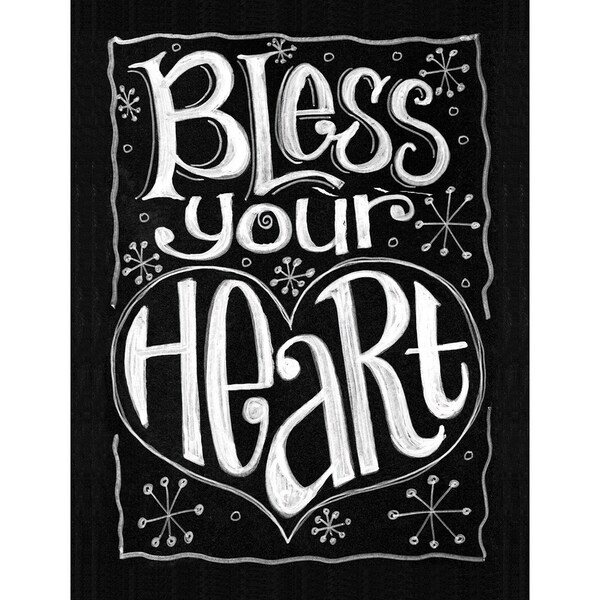 "Chalkboard Canvas Print 12""X15.75""-Bless Your Heart"