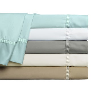 500 Thread Count Cotton-Rich Hudson Manor Braid Hem 4-piece Sheet Set