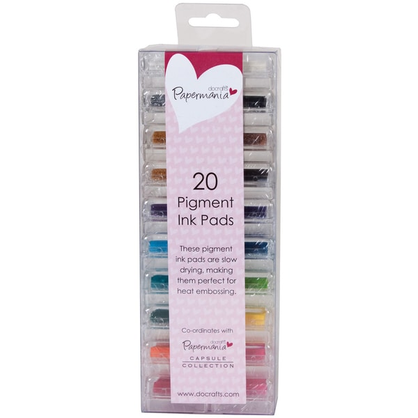 Papermania Mini Pigment Ink Pads 20/Pkg-Assorted Colors