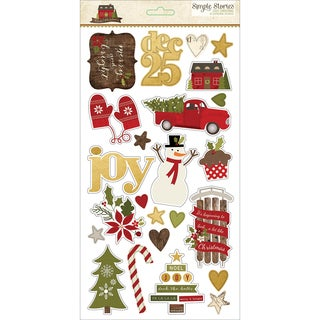 Cozy Christmas Chipboard Stickers 6X12in