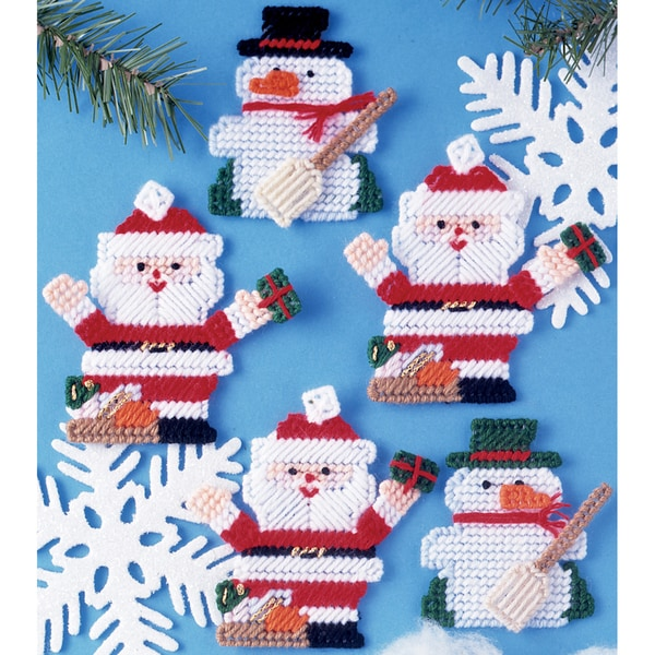 Santa & Snowman Ornaments Plastic Canvas Kit-7 Count