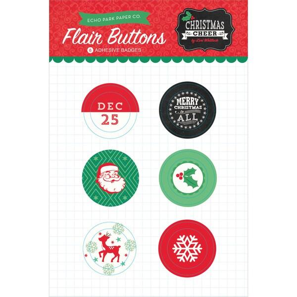 Christmas Cheer Flair Button Pins 6/Pkg