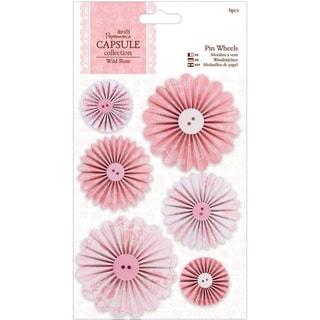 Papermania Wild Rose Pinwheels 6/Pkg