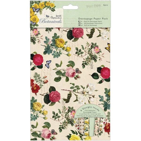 Papermania Botanicals A3 Decoupage Paper Pack 6/Pkg