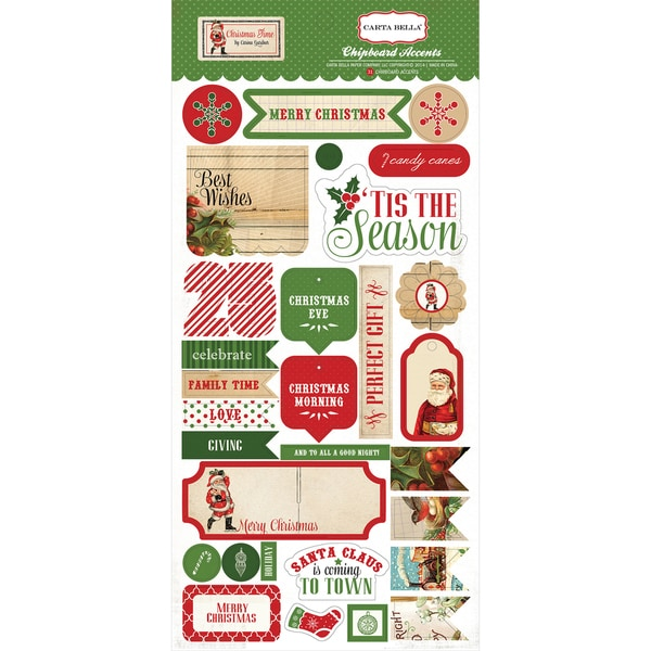 Christmas Time Chipboard 6X12in