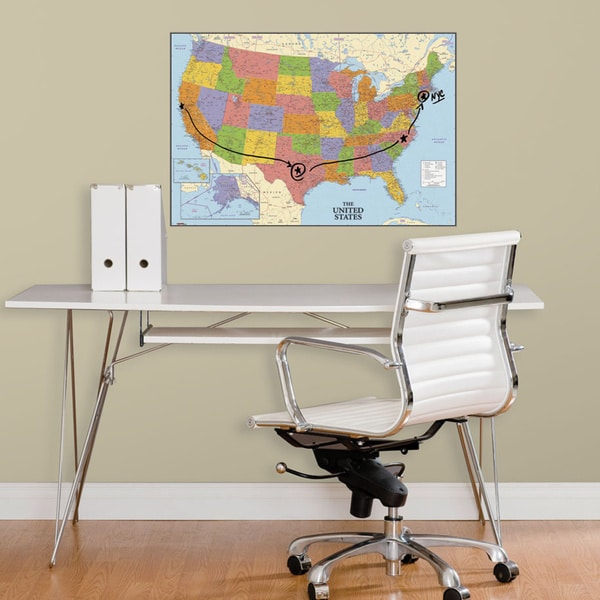 USA Map Dry Erase Peel and Stick Giant Wall Decals