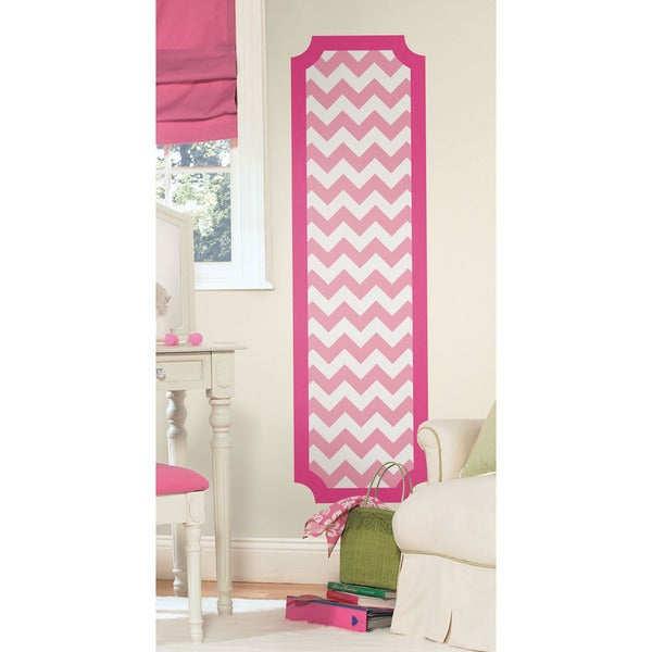 Pink and White Chevron Peel and Stick Deco Panel