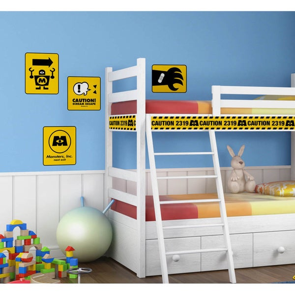 Monsters Inc Caution Signs Peel and Stick Giant Wall Decals