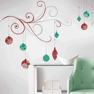 Holiday Scroll Peel and Stick Giant Wall Decals w/Glitter & Metallic Inks