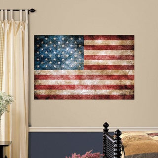Vintage American Flag Peel and Stick Giant Wall Decals