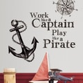 Work Like a Captain Quote Peel and Stick Wall Decals