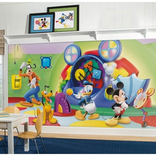 Mickey & Friends Clubhouse Capers Chair Rail Prepasted Mural 6' x 10.5' - Ultra-strippable