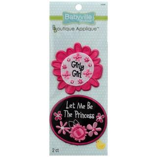 Babyville Boutique Appliques 2/Pkg-Pink Floral
