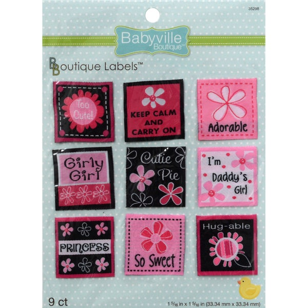 Babyville Boutique Labels 9/Pkg-Pink Floral