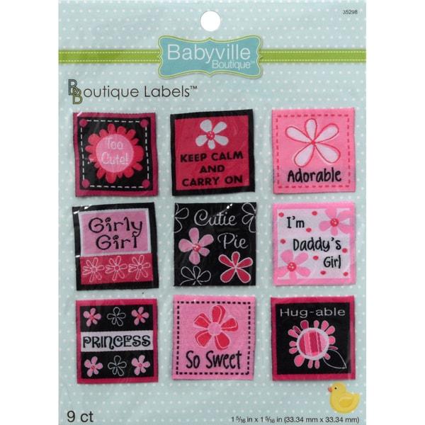 Babyville Boutique Labels 9/Pkg-Pink Floral