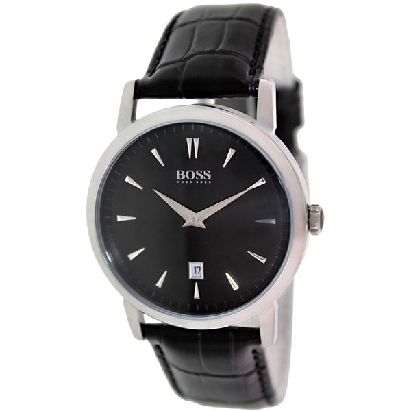 Hugo Boss Men's 1512637 Black Leather Analog Quartz Watch with Black Dial