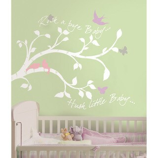 Rock-a-bye Bird Branch Peel & Stick Giant Wall Decals