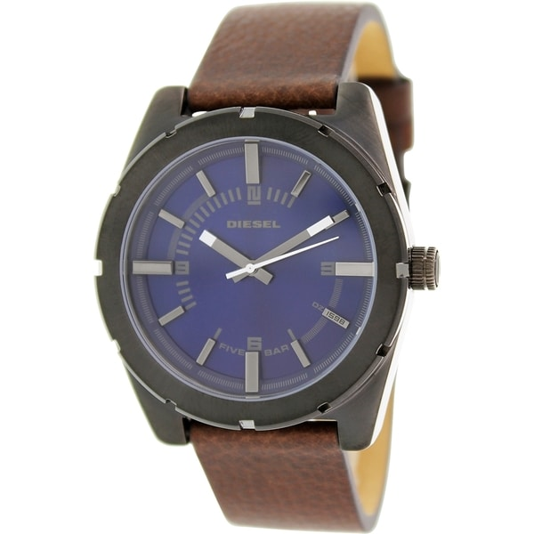 Diesel Men's Good Company DZ1598 Brown Leather Analog Quartz Watch with Blue Dial