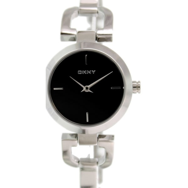 DKNY Women's D-Link NY8541 Stainless Steel Analog Quartz Watch with Black Dial
