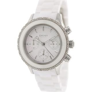 DKNY Women's Westside NY8672 White Ceramic Analog Quartz Watch with White Dial