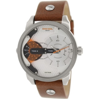 Diesel Men's Mini Daddy DZ7309 Brown Leather Analog Quartz Watch with Silver Dial