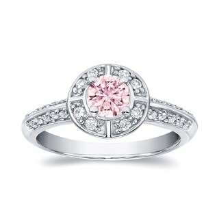 Auriya 14k White Gold 3/4ct TDW Natural Fancy Pink Halo Diamond Engagement Ring (SI1-SI2)