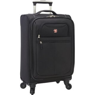 SwissGear 20-inch Spinner Black Lightweight Exandable Carry-on Spinner Upright Suitcase