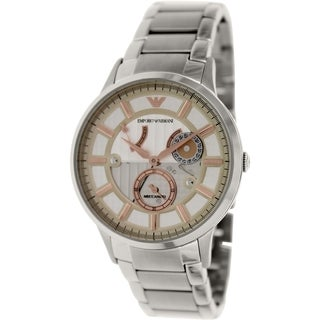 Emporio Armani Men's Meccanico AR4663 Stainless Steel Automatic Watch with Beige Dial