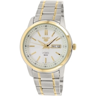 Seiko Men's 5 Automatic SNKM92K Two-tone Stainless Steel Automatic Watch with Silver Dial