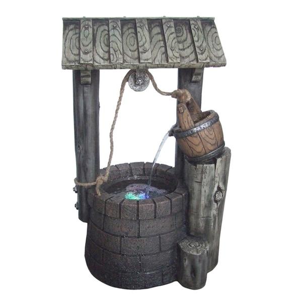 12-inch Free Standing Limestone Rock Well Fountain