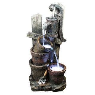 Yosemite Home Decor 15-inch Free Standing Two Bucket Water Well Fountain