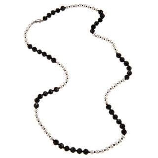 Alexa Starr Black and White Pearl Color Blocked Long Necklace