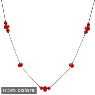 Alexa Starr long faceted glass and catseye illusion necklace