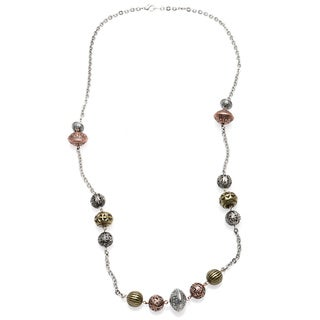 Alexa Starr Long Burnished Silver Chain Necklace With Tri-tone Textured Bead Stations
