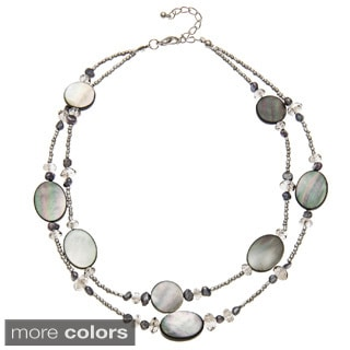 Alexa Starr Two Row Beaded Necklace With Genuine Mother Of Pearl