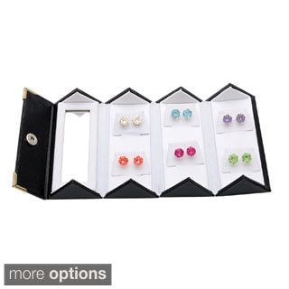 Alexa Starr Set of 6 - 8MM Swarovski Crystal Stud Earrings with Gift Box