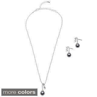 Alexa Starr Faux Pearl and Cubic Zirconia Necklace and Earring Set