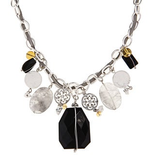 Alexa Starr Genuine Onyx and Cloudy Crystal Necklace