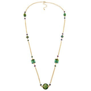 Alexa Starr Long Gold Chain Illusion Necklace with Emerald Green Glass Stations