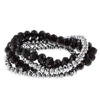 Alexa Starr Silver and Black Stretch Bracelets