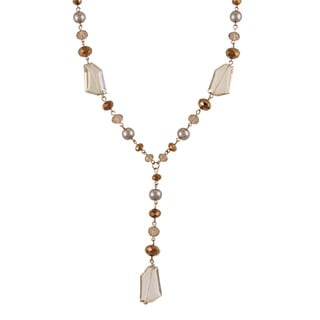 Alexa Starr Pearl and Faceted Bead Y Necklace
