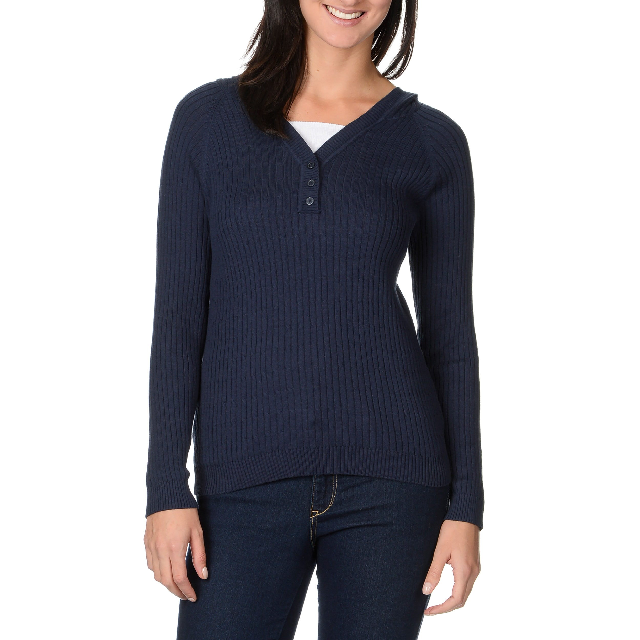Pierri Women's Hooded 3-button Cabled Sweater