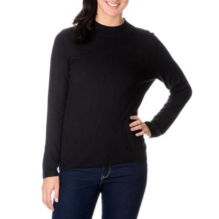 Pierri Women's Black Braided Turtleneck Sweater