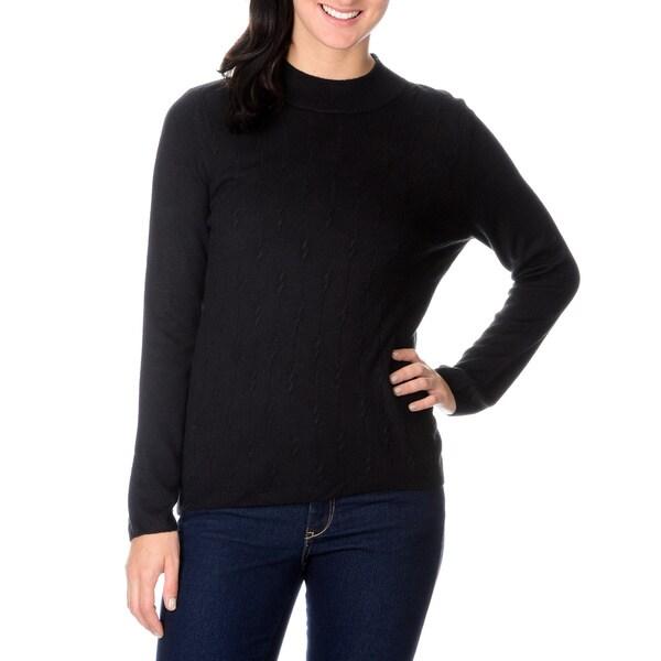 Pierri Women's Black Braided Turtleneck Sweater